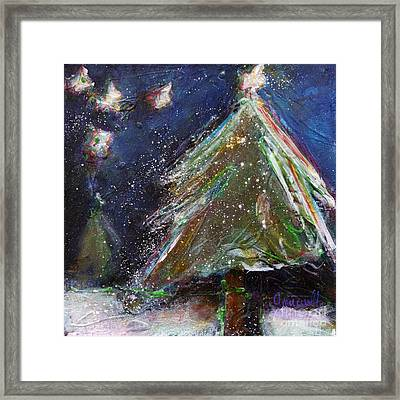 Happy Holidays Silver And Red Wishing Stars Framed Print