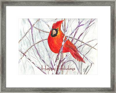 Happy Holidays Snow Cardinal Framed Print
