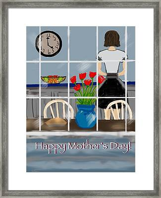 Framed Print featuring the digital art Happy Homemaker by Christine Fournier