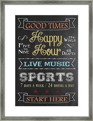 Framed Print featuring the digital art Happy Hour by Jaime Friedman