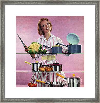 Happy Housewife In Kitchen 1960s Uk Framed Print by The Advertising Archives