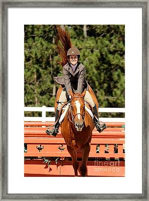 Happy Hunter Horse Framed Print