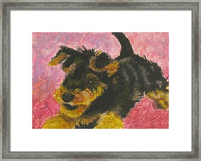 Framed Print featuring the painting Happy by Jeanne Fischer