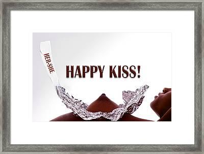 Happy Kiss Framed Print by Dario Infini