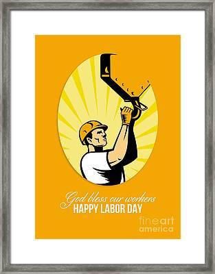 Happy Labor Day Retro Poster Greeting Card Framed Print by Aloysius Patrimonio