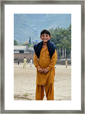 Framed Print featuring the photograph Happy Laughing Pathan Boy In Swat Valley Pakistan by Imran Ahmed