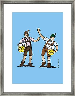 Happy Lederhosen Men With Beer Stein Framed Print