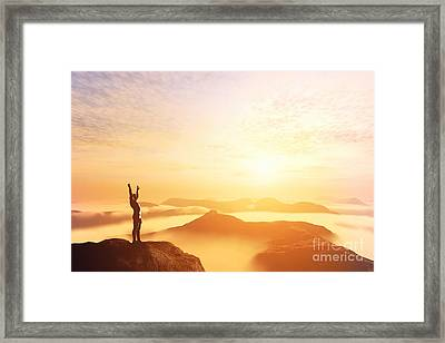 Happy Man With Hands Up On The Top Of The World Above Clouds Framed Print by Michal Bednarek