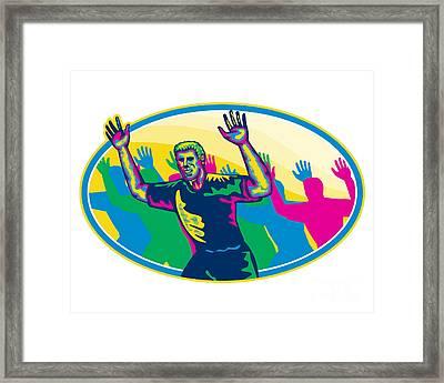 Happy Marathon Runner Running Oval Retro Framed Print by Aloysius Patrimonio