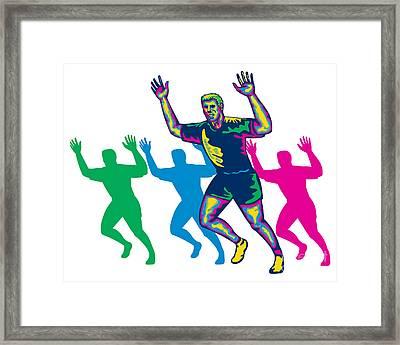 Happy Marathon Runner Running Retro Framed Print by Aloysius Patrimonio