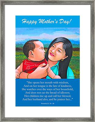 Happy Mom And Babe Framed Print
