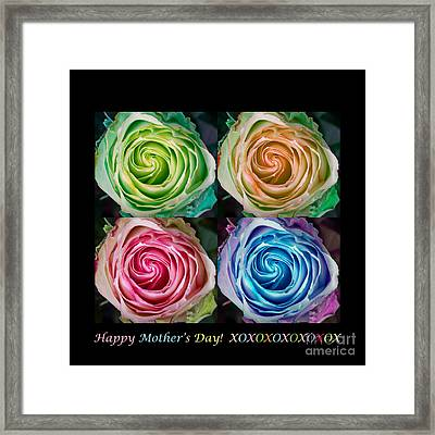 Happy Mothers Day Hugs Kisses And Colorful Rose Spirals Framed Print by James BO  Insogna