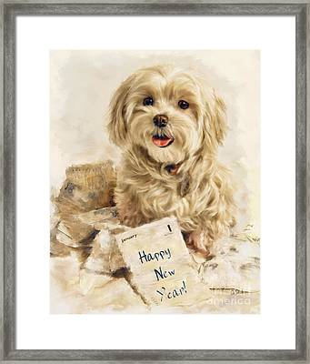Maltese Happy New Year Framed Print