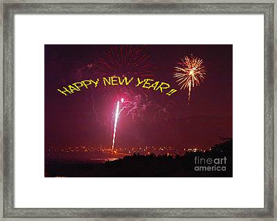 Framed Print featuring the photograph happy New Year fireworks by Gary Brandes