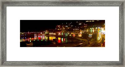 Happy New Year Mousehole Christmas Lights Framed Print