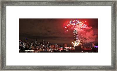 Happy New Year Seattle Framed Print by Benjamin Yeager