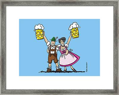 Happy Oktoberfest Couple Beer Framed Print by Frank Ramspott