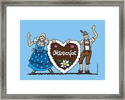 Happy Oktoberfest Couple With Gingerbread Heart Framed Print by Frank Ramspott