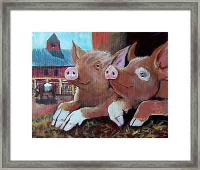 Happy Pigs Framed Print by Dona Davis