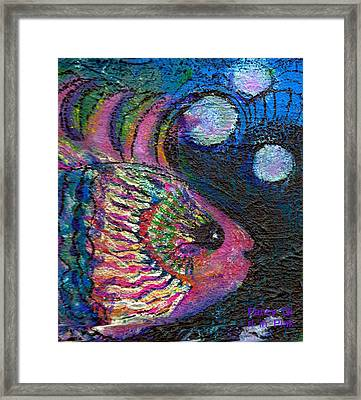 Happy Pink Fish Framed Print by Anne-Elizabeth Whiteway