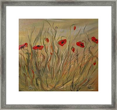 Framed Print featuring the painting Happy Poppies by Dorothy Maier