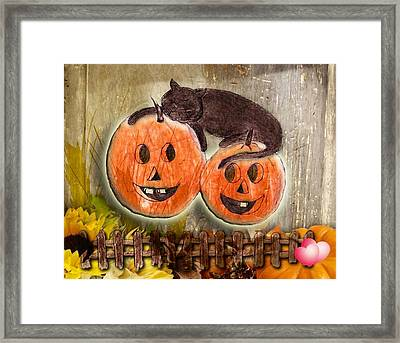 Happy Pumpkins Framed Print