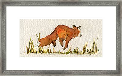 Happy Red Fox Framed Print by Juan  Bosco