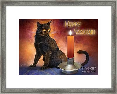 Happy Samhain Kitten And Candle Framed Print by Melissa A Benson