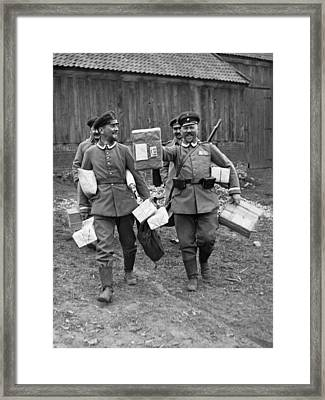 Happy Soldiers Framed Print by Underwood Archives
