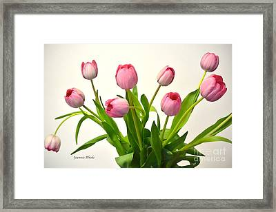 Framed Print featuring the digital art Happy Spring Pink Tulips 2 by Jeannie Rhode