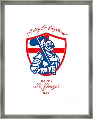 Happy St George A Day For England Greeting Card Framed Print by Aloysius Patrimonio