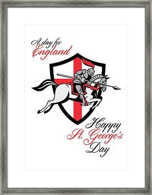 Happy St George Day A Day For England Retro Poster Framed Print by Aloysius Patrimonio