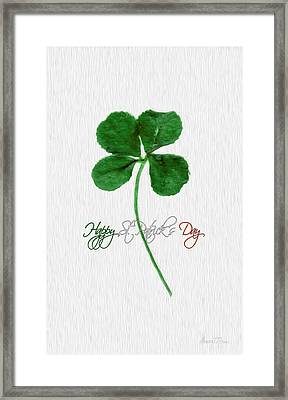 Happy St. Patrick's Day 4 Leaf Clover Framed Print