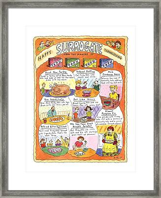 Happy Surrogate Thanksgiving Framed Print by Roz Chast