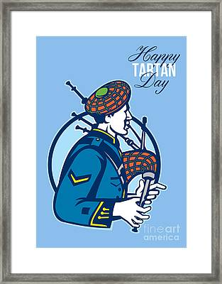 Happy Tartan Day Bagpiper Greeting Card Framed Print