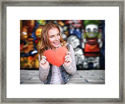 Happy Teen Girl In Love Framed Print by Anna Om