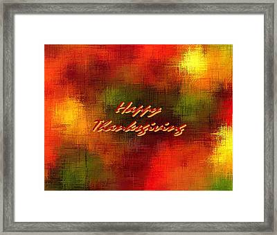 Happy Thanksgiving Earth Tones Framed Print by L Brown