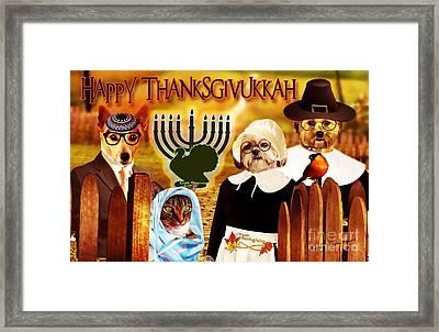 Framed Print featuring the digital art Happy Thanksgivukkah -5 by Kathy Tarochione