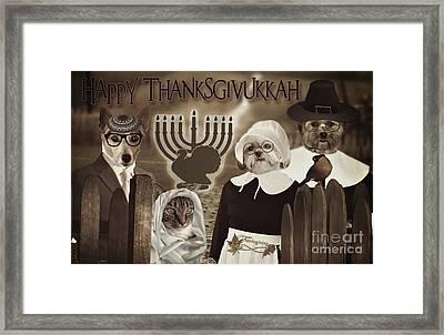 Framed Print featuring the digital art Happy Thanksgivukkah -6 by Kathy Tarochione