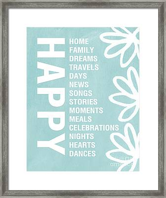 Happy Things Blue Framed Print by Linda Woods