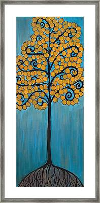 Happy Tree In Blue And Gold Framed Print