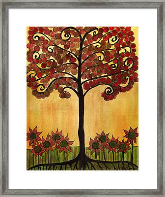 Happy Tree In Red Framed Print