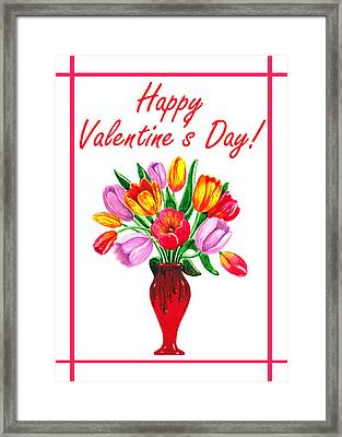 Happy Valentines Tulip Bouquet Framed Print