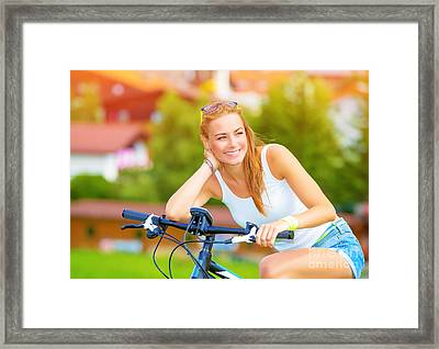 Happy Woman On The Bicycle Framed Print by Anna Om