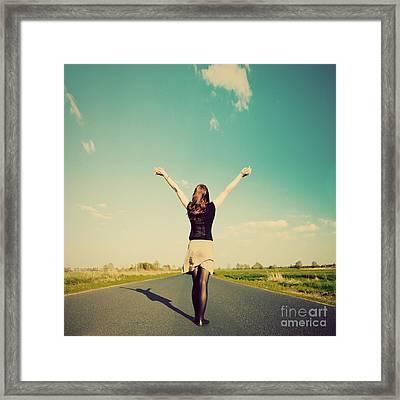 Happy Woman Standing On Empty Road Retro Vintage Style Framed Print by Michal Bednarek