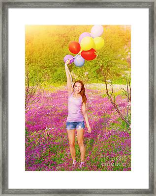 Happy Woman With Colorful Balloons Framed Print by Anna Om