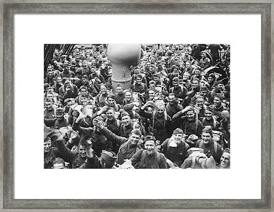 Happy  Wwi Marines Return Framed Print by Underwood Archives