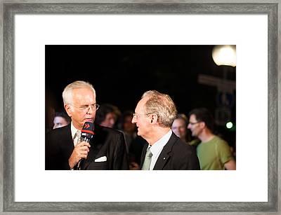 Harald Schmidt Interviews Stuttgart Lord Mayor Wolfgang Schuster Framed Print