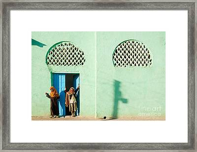 Harar Ethiopia Old Town City Mosque Girls Children Framed Print