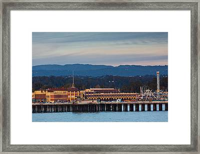Harbor And Municipal Wharf At Dusk Framed Print